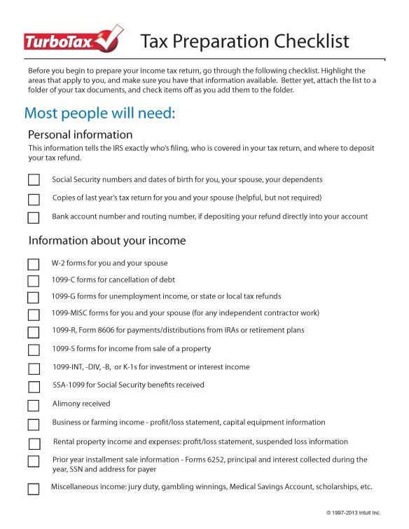 TurboTax_TaxPrepChecklist_Page_1