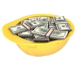 Yellow helmet full of dollars