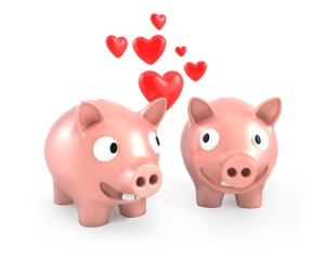 Two piggy banks fall in love