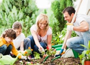 family-spring-garden