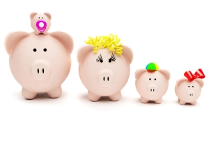 Piggybank family isolated