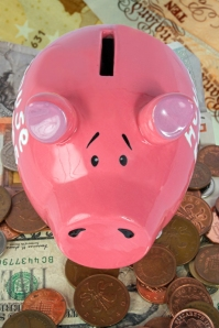 piggy bank savings - top view