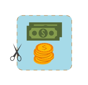 Icon of coupon cutout with money