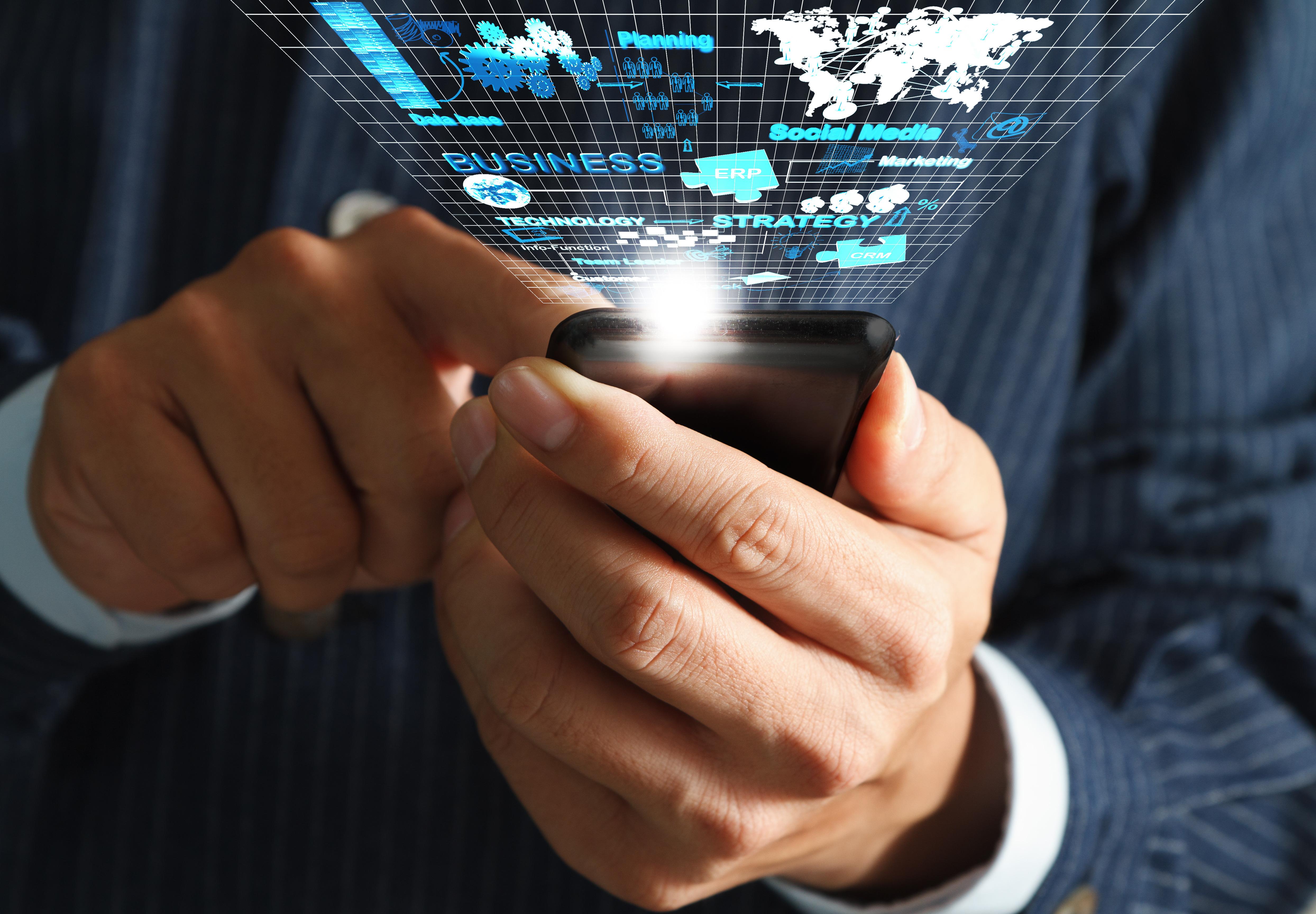 business man hand use mobile phone streaming virtual business ne