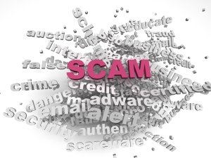 3d image Scam issues concept word cloud background
