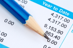 Pencil on the statement of payroll details