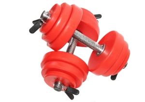 A sporting equipment - two red dumbbells. Isolated over white.